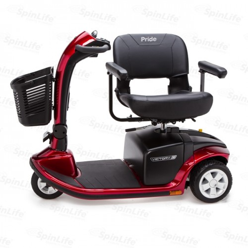 Chair Swiveled to Side on Red Pride Victory 9 3-Wheel Mobility Scooter