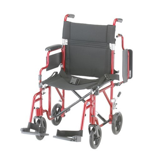 """Red Nova 19"""" Transport Chair w/ Removable Desk Arms"""