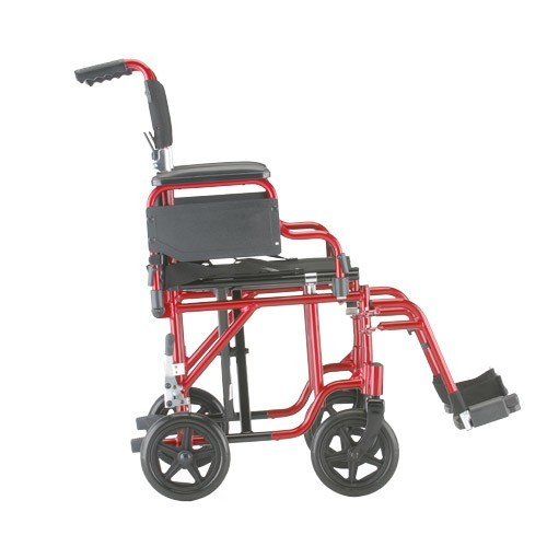 """Side view of Red Nova 19"""" Transport Chair w/ Removable Desk Arms"""