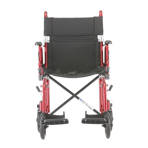 """Front view of Red Nova 19"""" Transport Chair w/ Removable Desk Arms"""