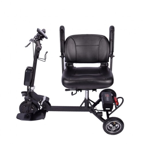 Chair swiveled to side on SNAPnGO Electric Travel Mobility Scooter