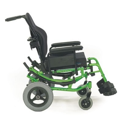 Side view of Green Solara 3G Tilt-in-Space Manual Wheelchair