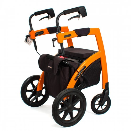 Orange Triumph Mobility Rollz Motion Rollator/Transport Chair Duo