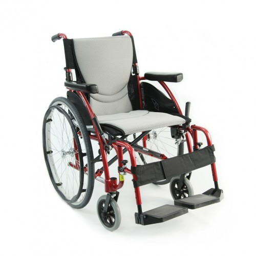 White Cushion and Red Handles of Ultra Light Folding Wheelchair for Rental
